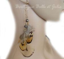 Mode-Ohrschmuck aus Federn mit Perlen (Imitation)