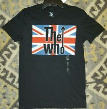 The Who Union Jack T-shirt Legendary Rock Band Graphic Tee Black NWT Small