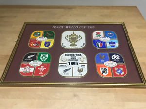 Vintage Collectable Framed Coasters Set of 6 1995 Rugby WorldCup Limited Editiom