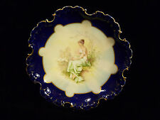 ROSENTHAL ROYAL VIENNA COBALT BLUE & GILT FOOTED SCALLOP RIM PORTRAIT PLATE 1900
