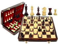 "Fierce Knight Staunton Weighted Chess Set 3""+ Folding 16"" Rosewood Board +Queens"