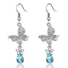 2 Carat Aqua Blue Dangle Butterfly Earrings use Swarovski Crystal SE487