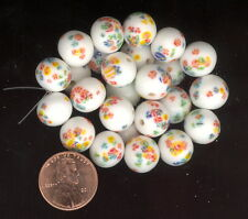 Vintage Art Glass Beads: 20 Made In Japan WHITE MILLEFIORI 11.5-12m #351K