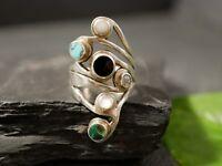 Imposanter 925 Silber Ring Signiert Bunte Steine Schwarz Blau Grün Funkelnd Groß