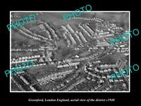 OLD LARGE HISTORIC PHOTO OF GREENFORD LONDON ENGLAND DISTRICT AERIAL VIEW 1940 1