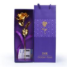 24K Plated Gold Rose Dipped Foil Flower Birthday Christmas Wedding Gift Box