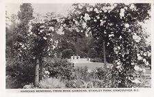 Harding Memorial from Rose Garden Stanley Park VANCOUVER BC Canada Gowen RPPC 50