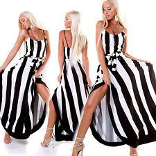 Maxi Abito lungo vestito donna elegante righe verticali bianco nero nuovo