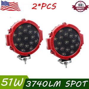 2X Round 7inch 51W SLIM Led Work Light Offroad ATV 4WD SUV Bumper Fog Pods RED