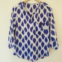 Collective Concepts Womens Size XS Roll Tab 3/4 Sleeve Popover Blouse Ikat 054