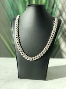 """Platinum Sterling Silver Pave White Sapphire Cuban Link Bust Down Chain 24"""" L"""