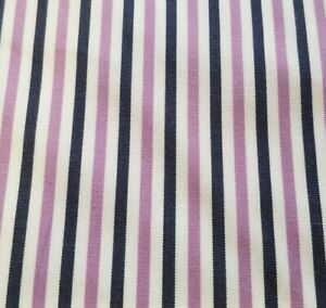 White with Large Purple & Navy Stripes Cotton Shirting - Classic Shirting Option