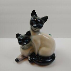 Royal Copley Siamese Kittens Planter Cat Kitten Vintage Figurine with Basket