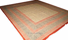 Beige King/Cal King Size Bedsheet Handblock Bedspread Wall Hanging Indian Cotton