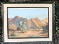 ORIGINAL VINTAGE MID CENTURY MODERN Desert Landscape Oil On Canvas Painting