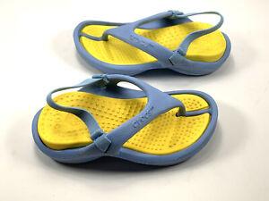 Crocs Classic Flip Sandals Infant/Toddler Size 6/7 Unisex Light Blue/ Yellow