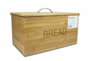ORIGINAL BAMBOO WOOD WOODEN BREAD BIN STORAGE BOX WITH LID FOR KITCHEN