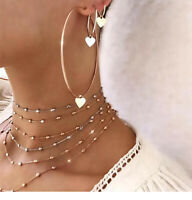 Fashion Women Love Heart Earring Hoop Big Round Charms Gold Jewelry 3Pcs/Set