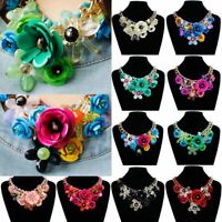 Fashion Women Bib Statement Pendant Crystal Necklace Chunky Flower Choker
