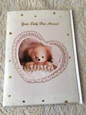 Baby Shower Musical Greeting Card Arrival of Newborn Teddy Bear Hearts Parents