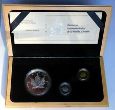 1989 Canada Maple Leaf Proof Gold, Silver, Platinum 3-coin Set, RCM