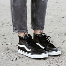 VANS Sk8 Hi Slim Cutout (Mesh) Black/White Leather Casual WOMEN'S 7.5