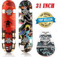 31'' 9Layers Maple Deck Pro Skateboard Complete Double Kick Concave Skate Board