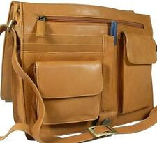 NEW LADIES SAND SOFT LEATHER ORGANISER MESSENGER WORK BAG