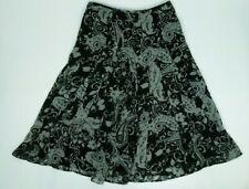 Talbots Petites Womens Midi Skirt Size 10P Floral Paisley Black Gray Print