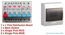 Complete 6 Pole/ Way Switchboard + RCD MCB Main Switch Distribution RCBO safety