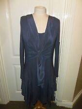 MINT VELVET Blue long sleeved scoop neck silk trimmed DRESS US 6 UK 10