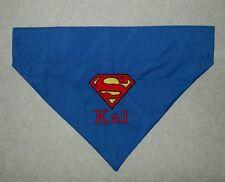 CUSTOM DC COMICS SUPERMAN S LOGO DOG PUPPY COLLAR BANDANA LARGE OR MEDIUM