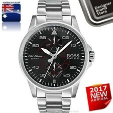 Hugo Boss Mens Aviator Pilot Ed Watch Silver Steel Black Dial Chrono 1513518