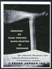 1959 Hans Wegner Hornback chair photo Georg Jensen NYC vintage print ad