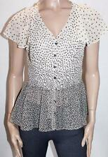 BASQUE Designer Filly Sleeve Button Front Blouse Top Size 10-S BNWT #SS110