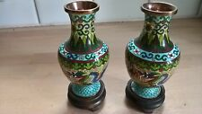 Chinese pair cloisonne vases with dragons & wooden stands