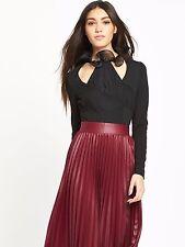 Lost Ink Clothing Womens Chiffon Ruffle Neck Body Top UK Size 8 Black RRP £32