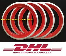 """Classic Oldtimer 15"""" Red/White Wall Portawall Tire insert set of4 . #216"""