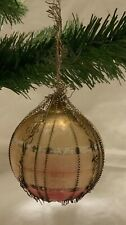 Antique Wire Wrapped German Small Round Glass Ornament