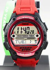 Casio W-756-4AV Men's REFEREE TIMER Watch Red Digital World Time Resin Band New