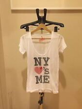 Authentic LOCAL CELEBRITY NY HEART ME LOVE WHITE T Shirt Tee Size S Small