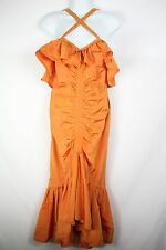 Vintage Jil Sander+ Orange Irridescent Flamenco Ruffled Ruched Dress Size 6