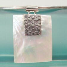 White Mother of Pearl Shell Handmade Pendant 925 Sterling Silver Necklace
