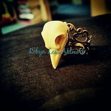 Resin Raven Crow Bird Skull Bronze Filigree Ring, Adjustable
