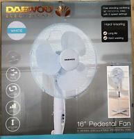 "Daewoo White 16"" Inch Standing Pedestal Fan 3 Speed Oscillating Portable Floor"