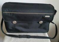 Sansonite borsa in nylon nero con tracolla, scomparti notebook, Ipad. Vintage
