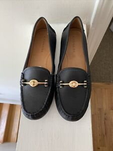 COACH Arlene Turnlock Black Leather Driver Moccasins Loafers Shoes Size 9M