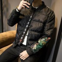 Winter Men's Printed Cotton Padded Jacket Chinese style Stand Collar Coat Short