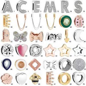 Alphabet Letter S925 flat Silver Charm Bead Pendant For Flat Bracelet Chain