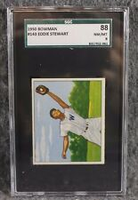Vintage Baseball Card MLB 1950 Bowman SGC 88 NM/MT 8 Eddie Stewart Only 4 Higher